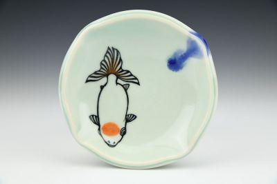 Small Goldfish Plate Celadon Orange