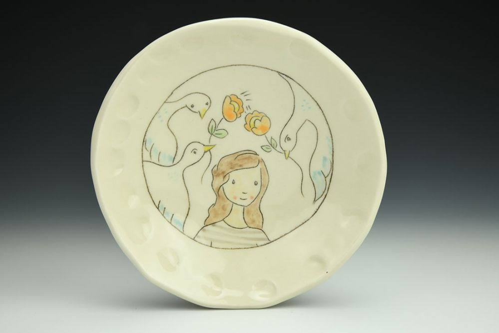 Shallow Bowl with Girl and Birds