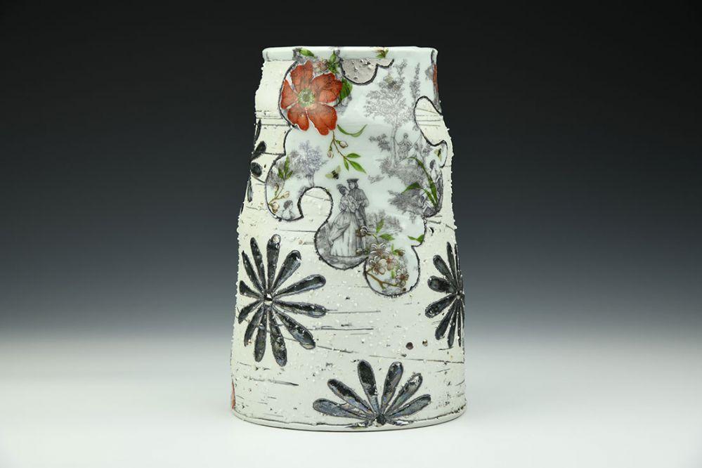 Toile and Black Flower Vase