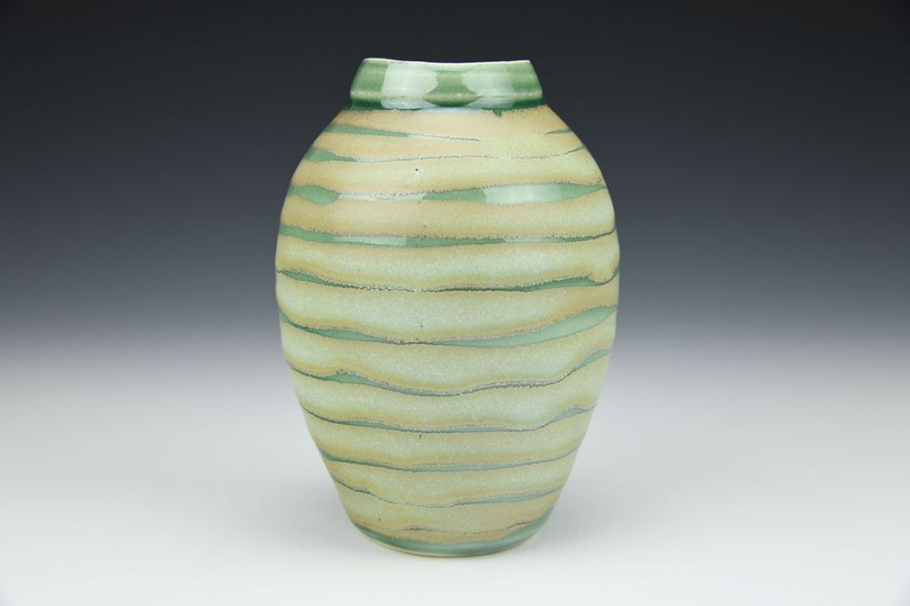 Small Vase with Green Stripes