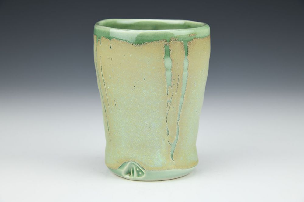 Green Tumbler with Light Green Stripes