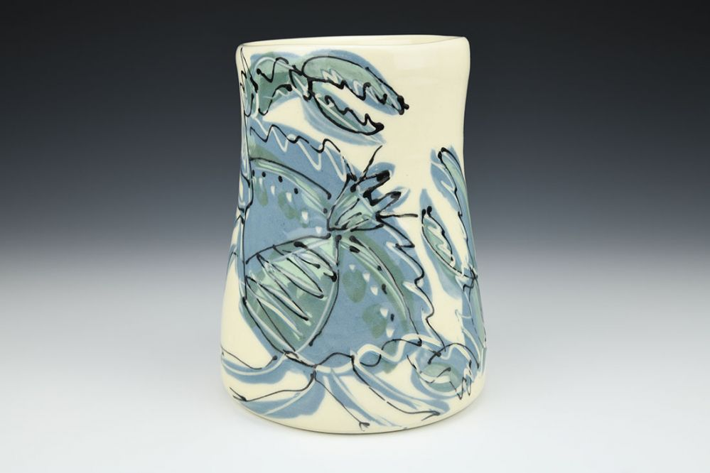 Wide Vase with Crab