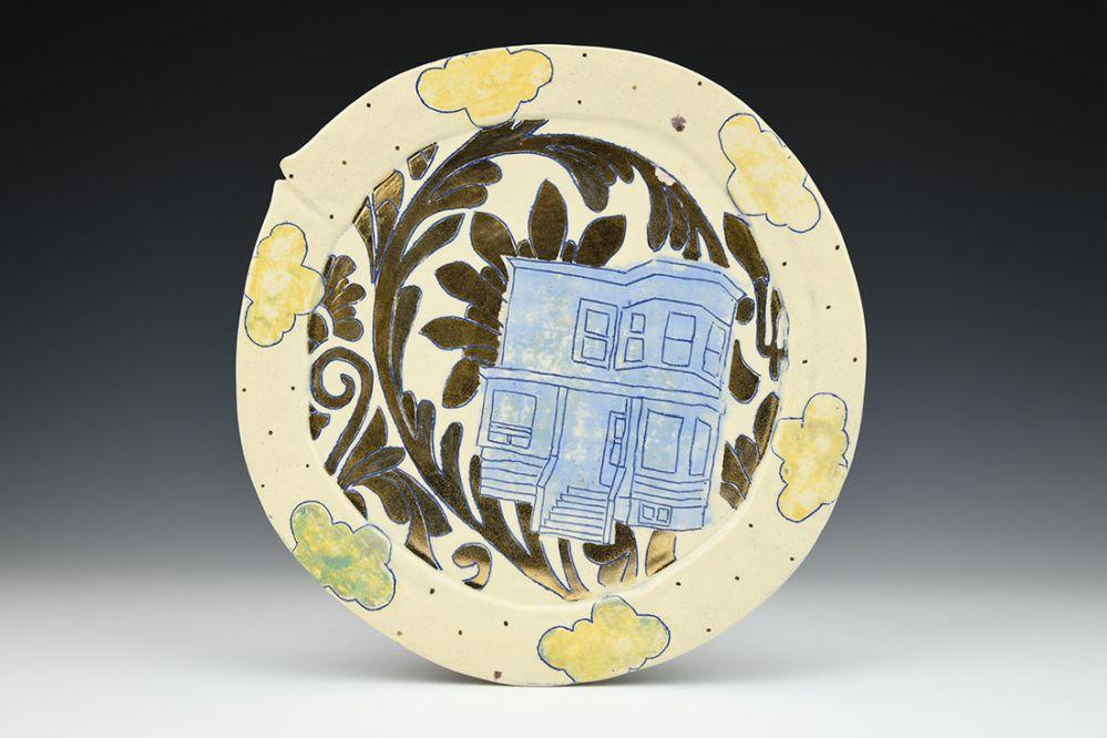 Blue House Gold Wallpaper Plate
