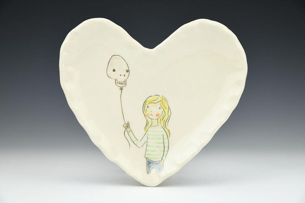 Skull Balloon Heart Shaped Dish
