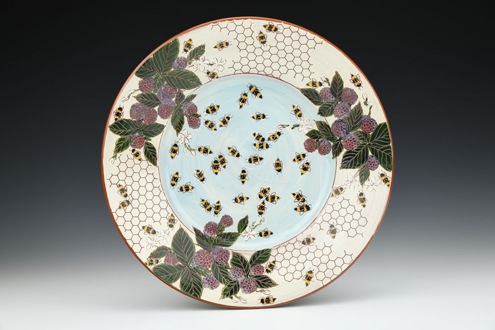 Bees, Berries, and Blossoms Honeycomb Round Platter