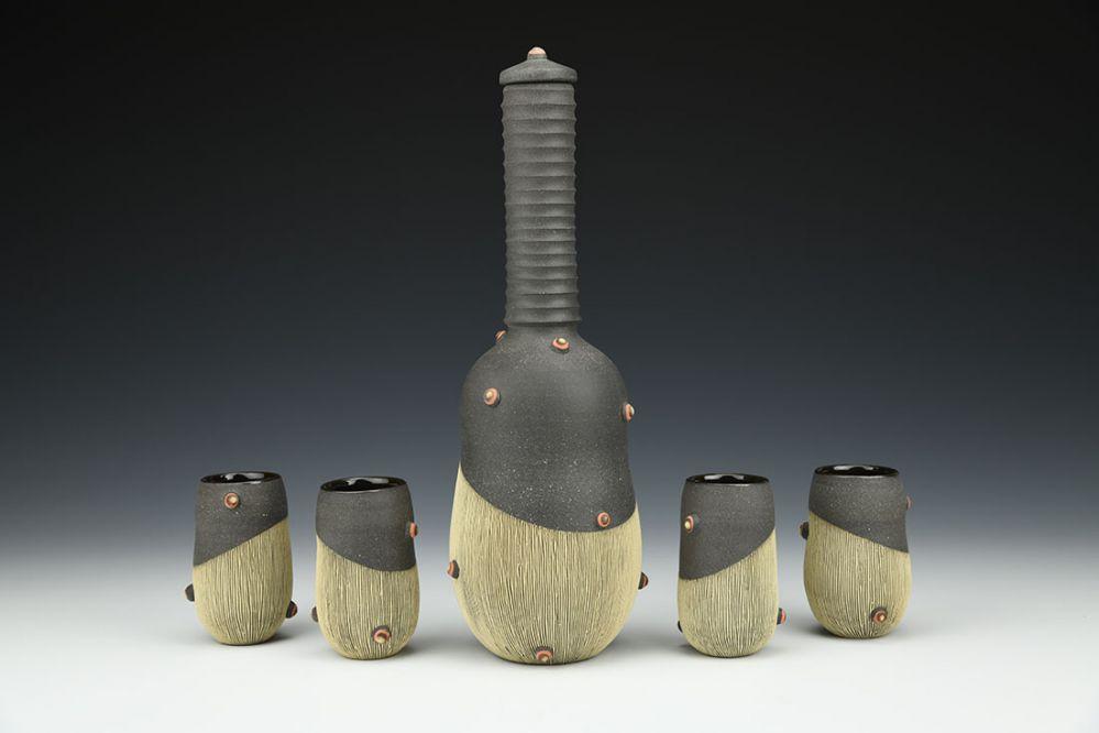 Liqueur Bottle Set with Cups
