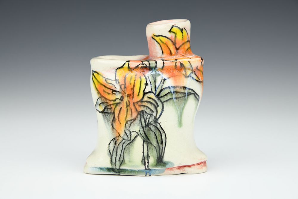 Orange Lily Bud Vase