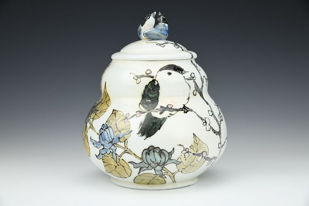 Spring Tea Jar with Nuthatches