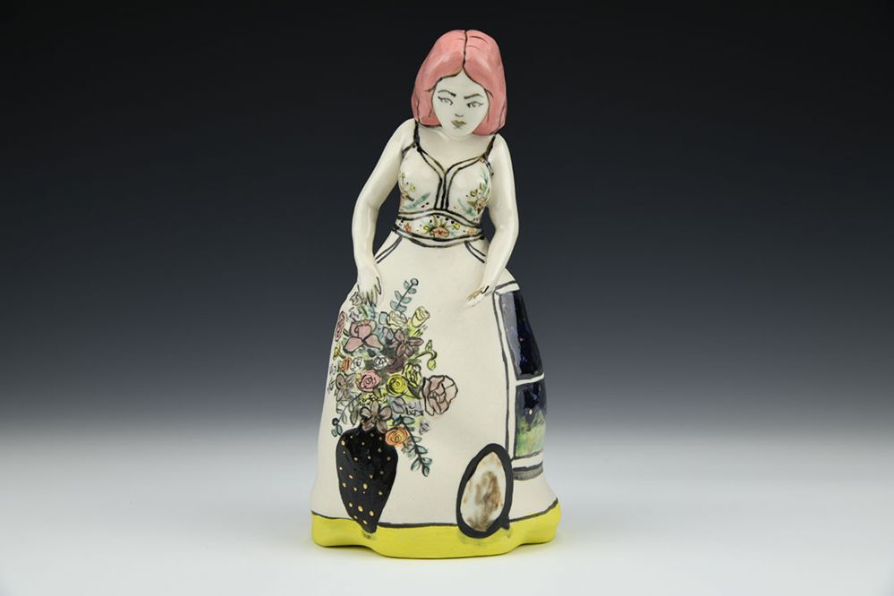 Asrai Pink Haired Figure with Flower Vase and Window