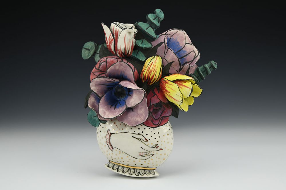 Fragility Blooming Hand Vase with Flower Bouquet